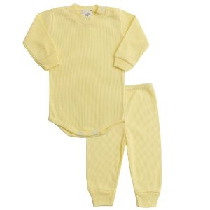 Conjunto Recém Nascido de Ribana Body com Calça Amarelo