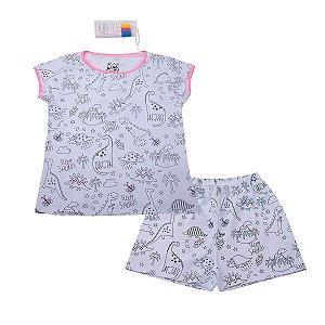 Pijama Interativo Dinos Rosa com Canetinhas para Colorir Tecidos