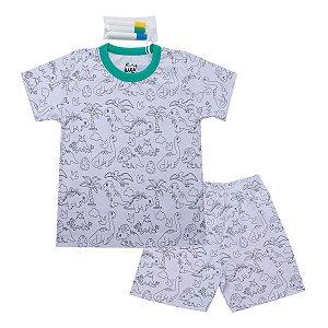 Pijama Interativo Dinos Verde com Canetinhas para Colorir Tecidos