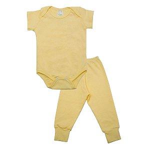 Conjunto Body com Calça de Ribana Amarelo