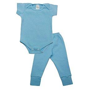 Conjunto Body com Calça de Ribana Azul