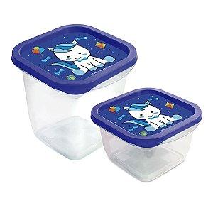 Kit Pote Pônei para Armazenar Alimentos Azul
