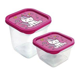 Kit Pote Unicórnio para Armazenar Alimentos Rosa