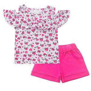 Conjunto Blusa Ciganinha com Shorts Pink
