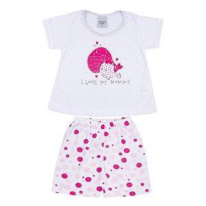 Pijama Infantil de PV Branco com Estampa Baleia e Bermuda Poá