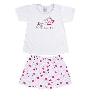 Pijama Infantil de malha PV Time For Tea e Bermuda Poá
