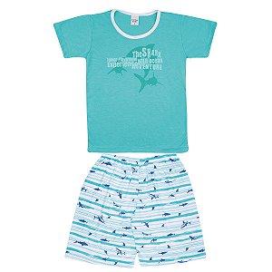 Pijama Juvenil de Malha PV Tubarão Verde