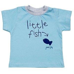 Camiseta Bebê de Malha Peixinho Azul