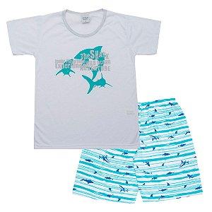 Pijama Juvenil de Malha PV Tubarão Branca