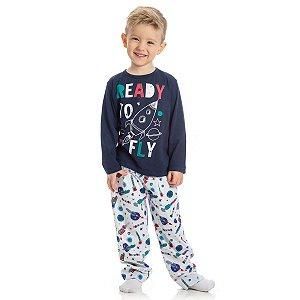Conjunto Pijama Foguete Meia Malha