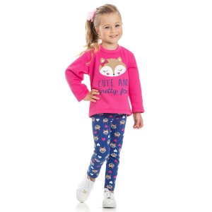 Conjunto Moletom Rosa Fox e Calça Cotton