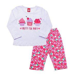 Conjunto Pijama Cupcake Meia Malha