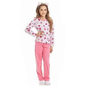 Conjunto Pijama Meia Malha Confeti Rosa