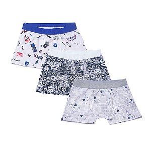 Kit com 3 Cuecas Boxer Infantil Estampada