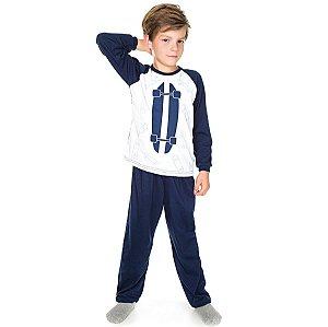 Pijama Meia Malha Skate Marinho