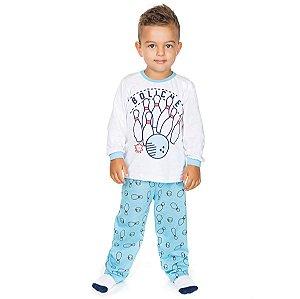 Pijama Meia Malha Boliche Branco