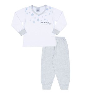 Pijama Meia Malha Estrelas Branco