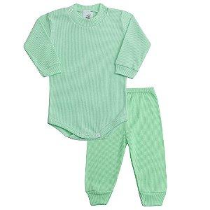 Conjunto Recém Nascido de Ribana Body com Calça Verde