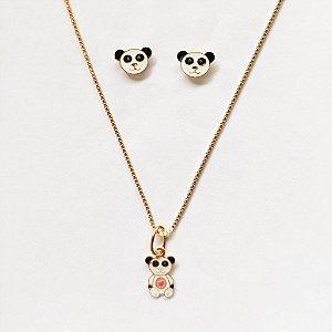 Conjunto Brinco e Corrente com Pingente Urso Panda Kids Folheado a Ouro