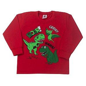 Camisa Manga Longa Dino Vermelho