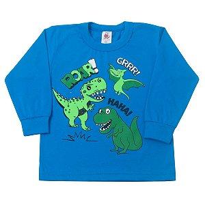 Camisa Manga Longa Dino Azul