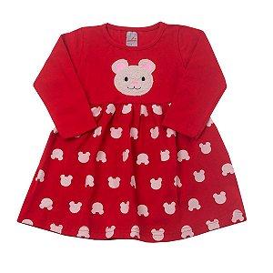 Vestido Vermelho Ursinho