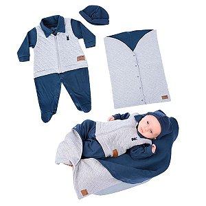 Kit Maternidade Macacão e Saco de Dormir de Suedine com Matelassê e Touca de Suedine