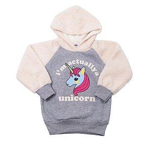 Blusão com Capuz  Mescla Marfim Unicorn