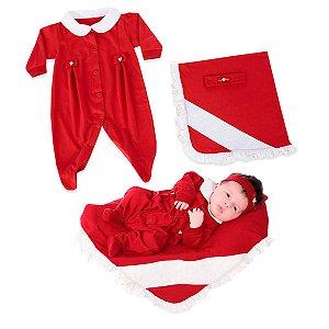 Kit Maternidade Macacão com Manta de Meia Malha e Faixa de Cabelo de Suedine Vermelho