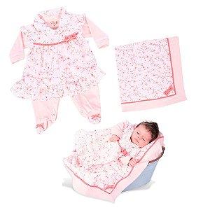 Kit Maternidade Macacão Vestido com Manta de Suedine e Tecido Plano Rosa