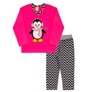 Conjunto Pijama Pinguim Rosa