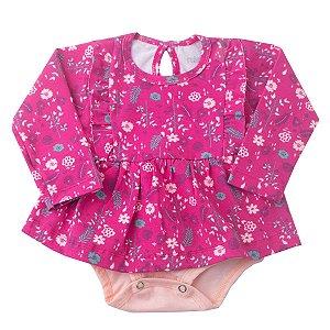 Body Vestido Cotton Estampado Floral Pink