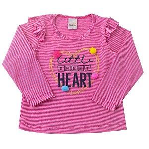 Blusa com Babado Cotton Listrado Pink