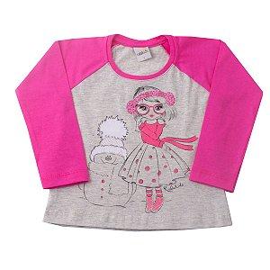 Blusa Raglan Mescla Com Pink