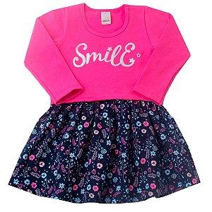 Vestido com Sobreposição em Molecotton Estampado Pink