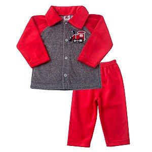 db0fd94a5b Conjunto Plush Jaqueta com Bordado e Calça Vermelho