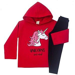Conjunto Blusa Moletom Vermelho e Calça Legging Molecotton