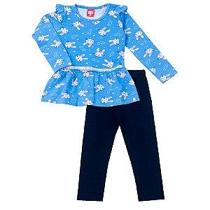 Conjunto Bata Coelhinho Azul e Calça Cotton
