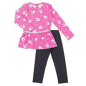 Conjunto Bata Coelhinho Rosa e Calça Cotton