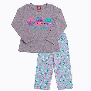Conjunto Pijama Cupcake Meia Malha MESCLA