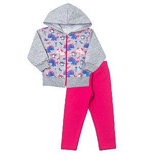Conjunto Blusa Moletom Unicórnio e Calça Legging Pink
