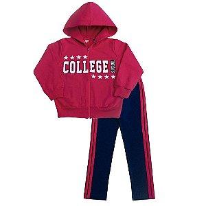 Conjunto Moletom College Pink