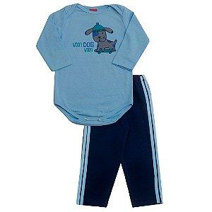 Conjunto Body Mescla Calça Moletom Azul Bebê