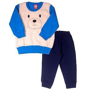 Conjunto de Moletom Bebê Ursinho Azul Royal