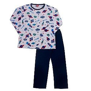 Conjunto Pijama Meia Malha Space Marinho