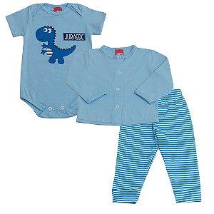 Tri Conjunto Body Dino e Casaco Cotton Calça Ribana Listrada Azul