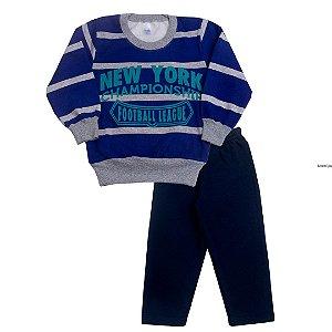 Conjunto Menino de Moletom New York Azul