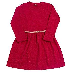 Vestido Trabalhado com Cinto Pink