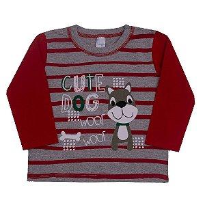 Camisa Cute Dog Vermelho