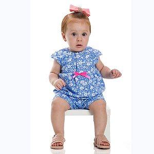 Macaquinho Baby Floral Azul